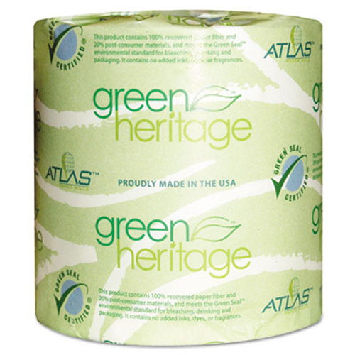 Atlas Paper Mills Green Heritage Toilet Tissue, 4.4 x 4.4 Sheets, 2-Ply, 500/Roll, 96 Rolls/CT (APM250GREEN)