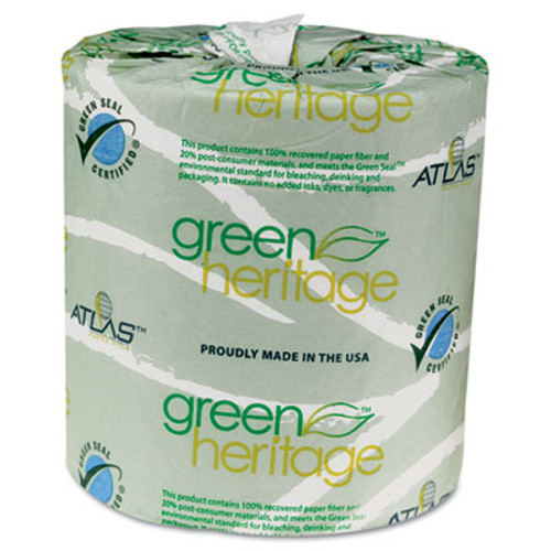Atlas Paper Mills Green Heritage Toilet Tissue, 4.4 x 3.5 Sheets, 2-Ply, 500/Roll, 96 Rolls/CT (APM235GREEN)