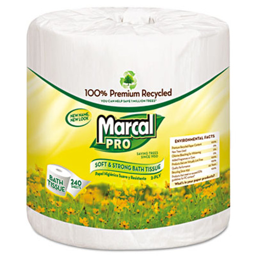 Marcal PRO 100% Recycled Bathroom Tissue, White, 240 Sheets/Roll, 48 Rolls/Carton (MAC 3001)