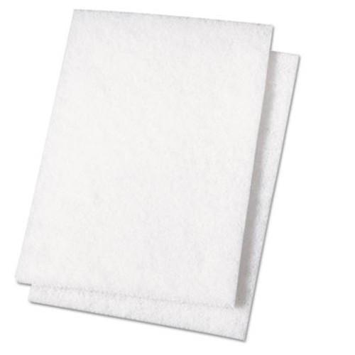 Boardwalk Light Duty Scour Pad, White, 6 x 9, 20/Carton (PAD 198)