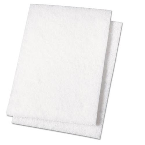 Boardwalk Light Duty Scour Pad, White, 6 x 9, 20/Carton (PAD 198)