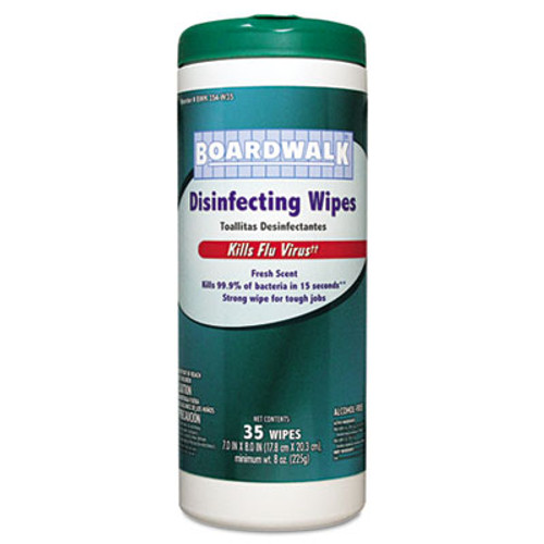 Boardwalk Disinfecting Wipes, 8 x 7, Fresh Scent, 35/Canister, 12 Canisters/Carton (BWK 354-W35)