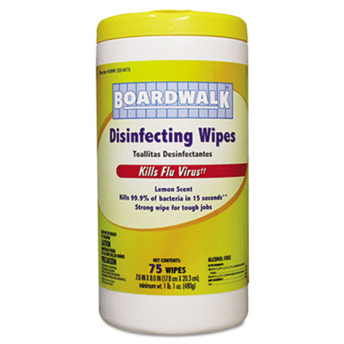 Boardwalk Disinfecting Wipes, 8 x 7, Lemon Scent, 75/Canister, 6 Canisters/Carton (BWK 355-W75)
