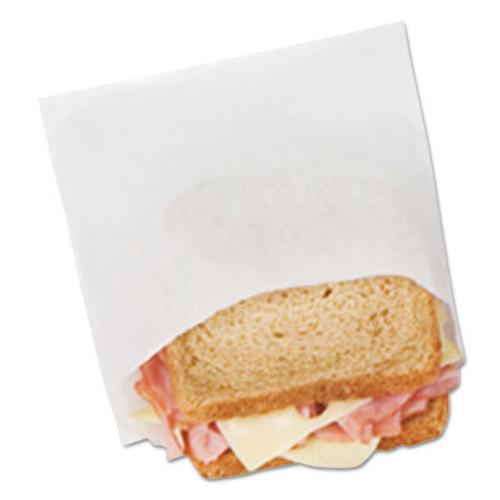 Bagcraft DX18 Dry Wax Sandwich Bags, 6 x 3/4 x 6 1/2, White, 1000/Box, 8 Boxes/Carton (BGC 300401)