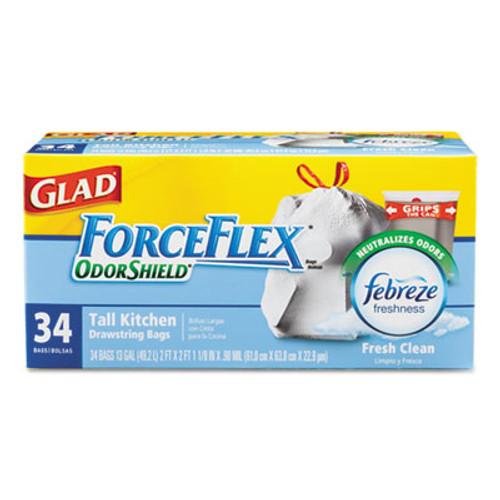 Glad ForceFlex OdorShield Bags, Fresh Clean, 13gal, White, 34/Box, 6 Boxes/Carton (CLO 70320)