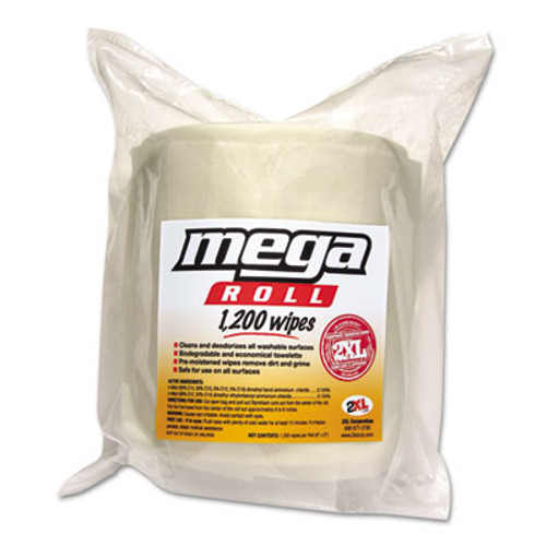 2XL Gym Wipes Mega Roll Refill, 8 x 8, White, 1200/Roll, 2 Rolls/Carton (TXL L420)