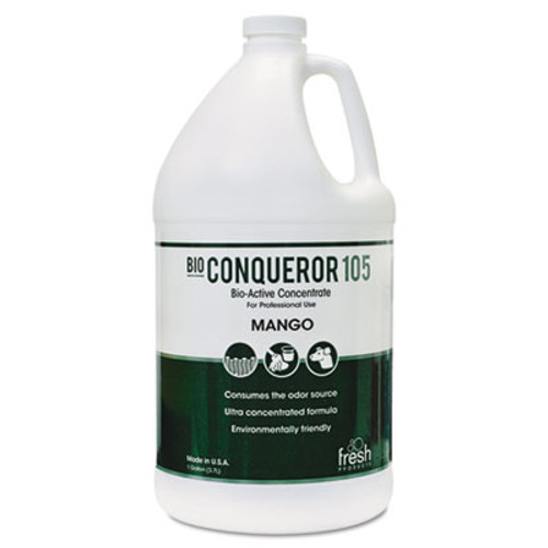 Fresh Products Bio Conqueror 105 Enzymatic Concentrate, Mango, 1gal, Bottle, 4/Carton (FRS 1-BWB-MG)
