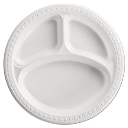 "Chinet Heavyweight Plastic 3 Compartment Plates, 10 1/4"" Dia, White, 125/PK, 4 PK/CT (HUH 81230)"