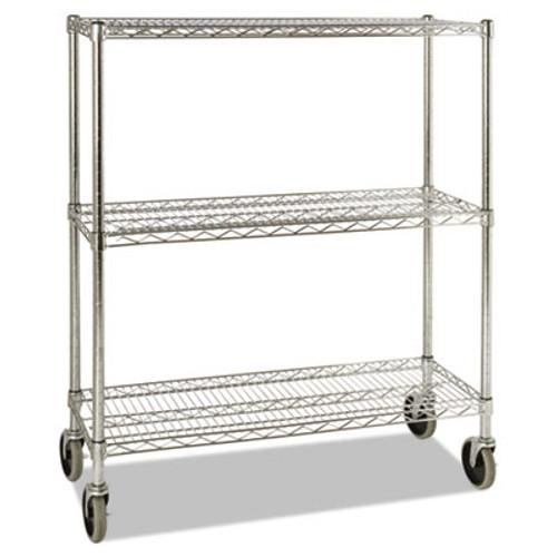 Rubbermaid ProSave Shelf Ingredient Bin Cart, Three-Shelf, 38w x 14d x 48 3/8h, Chrome (RCP 9G79 CHR)