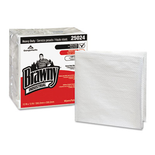 Georgia Pacific Brawny Industrial Heavy Duty Qrtrfld Shop Towels, 13x13, White 70/PK 12 PK/CT (GPC 250-24)