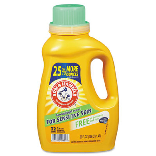 Arm & Hammer HE Compatible Liquid Detergent, Unscented, 50oz Bottle, 8/Carton (CDC 33200-09991)