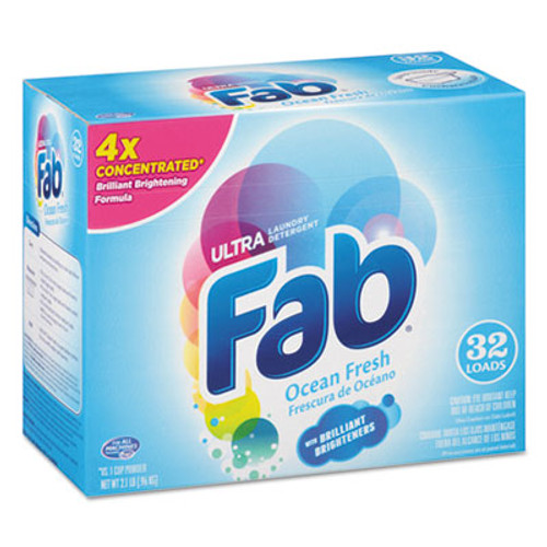 Fab 2X Powdered Laundry Detergent, Ocean Breeze, 2.1lb Box, 4/Carton (PBC 36212)