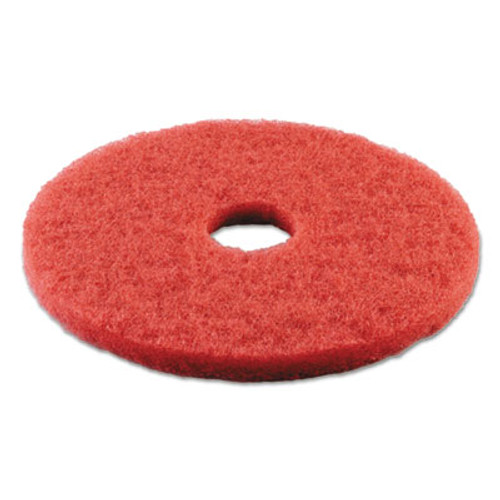 "Boardwalk Standard Buffing Floor Pads, 14"" Diameter, Red, 5/Carton (PAD 4014 RED)"
