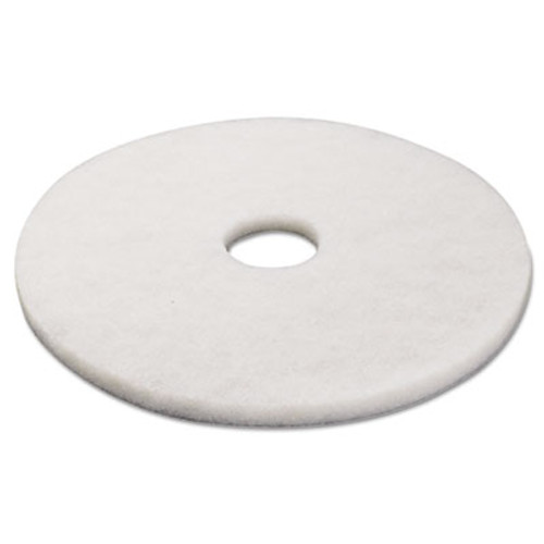 "Boardwalk Standard Polishing Floor Pads, 17"" Diameter, White, 5/Carton (PAD 4017 WHI)"