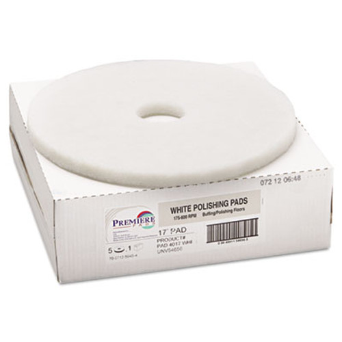 "Boardwalk Standard Polishing Floor Pads, 17"" Diameter, White, 5/Carton (PAD 4017 WHI)"