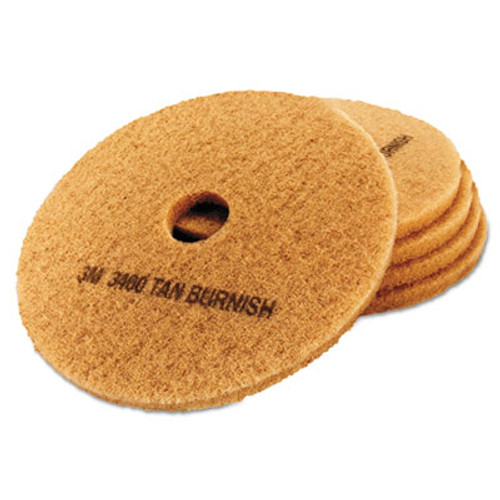 "3M Ultra High-Speed Floor Burnishing Pads 3400, 19"" Diameter, Tan, 5/Carton (MCO 05605)"