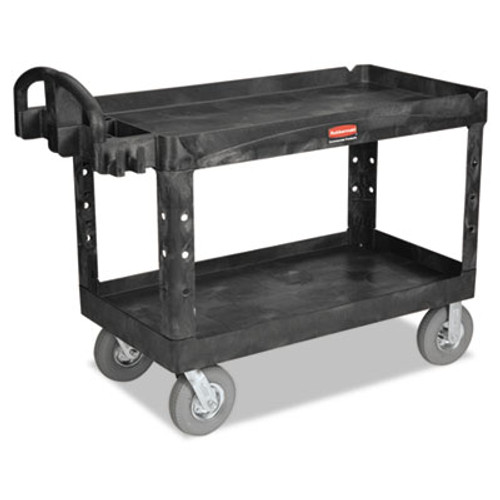 Rubbermaid Heavy-Duty 2-Shelf Utility Cart, TPR Casters, 26w x 55d x 33 1/4h, Black (RCP 4546 BLA)