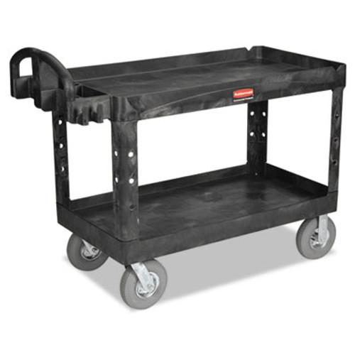 Rubbermaid Heavy-Duty 2-Shelf Utility Cart, TPR Casters, 26w x 55d x 33 1/4h, Black (RCP 4546 BLA)