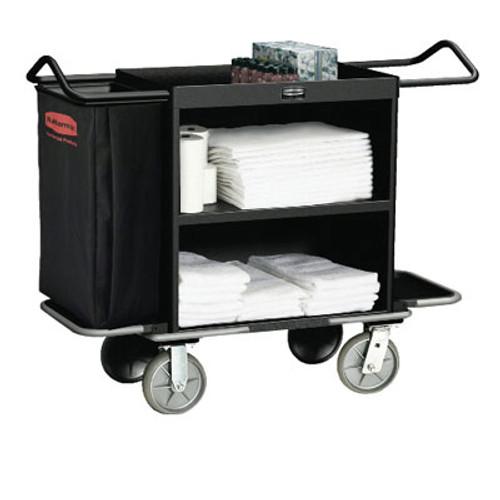 Rubbermaid High-Capacity Housekeeping Cart, Three-Shelf, 22w x 55d x 44h, Black (RCP 9T62 BLA)