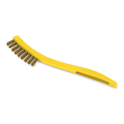 "Rubbermaid Metal-Fill Wire Scratch Brush, 8 1/2"" Yellow Plastic Handle, Dozen (RCP 9B57)"