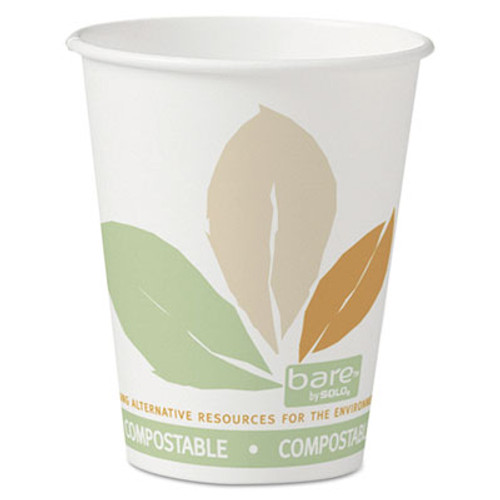 Dart Bare by Solo Eco-Forward PLA Paper Hot Cups, 8 oz, Leaf Design,50/Bag,20 Bags/Ct (SCC 378PLA-BB)