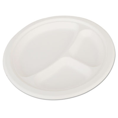 "SCT ChampWare Heavyweight Bagasse Dinnerware, 3-C Plate, 10"", White, 500/Carton (SCH 18163)"