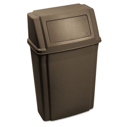 Rubbermaid Slim Jim Wall-Mounted Container, Rectangular, Plastic, 15 gal, Brown (RCP 7822 BRO)