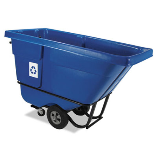 Rubbermaid Rotomolded Recycling Tilt Truck, Rectangular, Plastic, 850 lb. Cap., Blue (RCP 1305-73 BLU)