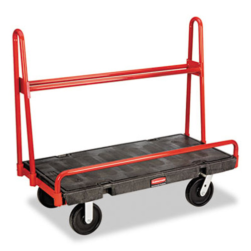 Rubbermaid A-Frame Panel Truck, 2000-lb Cap, 24 1/4w x 48d x 45h, Black/Red (RCP 4463 BLA)