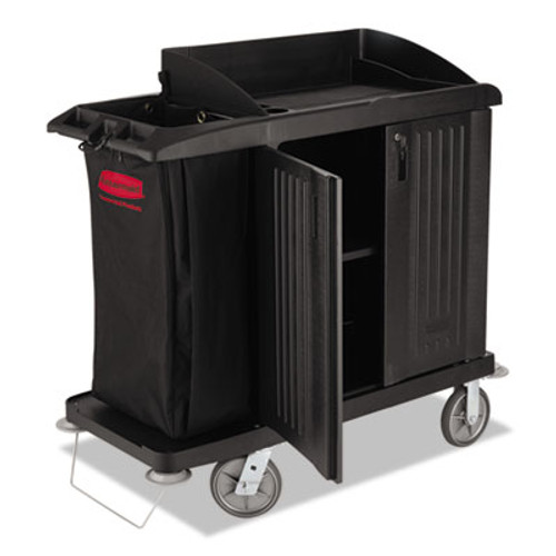 Rubbermaid Multi-Shelf Cleaning Cart, Three-Shelf, 22w x 49d x 50h, Black (RCP 6192 BLA)