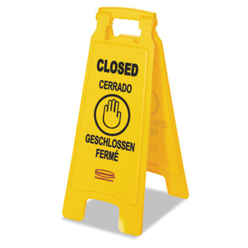 """Rubbermaid Multilingual """"Closed"""" Sign, 2-Sided, Plastic, 11w x 12d x 25h, Yellow (RCP 6112-78 YEL)"""