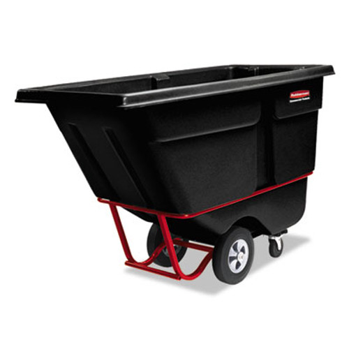 Rubbermaid Rotomolded Tilt Truck, Rectangular, Plastic, 1/2 cu yd., 850-lb Cap., Black (RCP 1305 BLA)