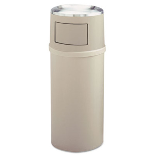 Rubbermaid Ash/Trash Classic Container w/Doors, Round, 25 gal, Beige (RCP 8180-88 BEI)