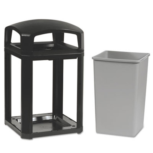Rubbermaid Landmark Series Classic Dome Top Container w/Ashtray, Plastic, 35 gal, Sable (RCP 3970-01 SAB)