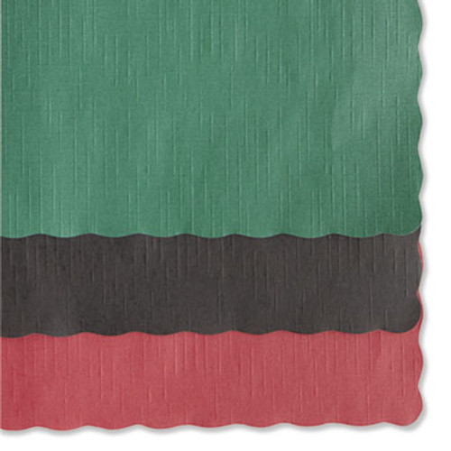 Hoffmaster Solid Color Scalloped Edge Placemats, 9 1/2 x 13 1/2, Hunter Green, 1000/Carton (HFM 310528)