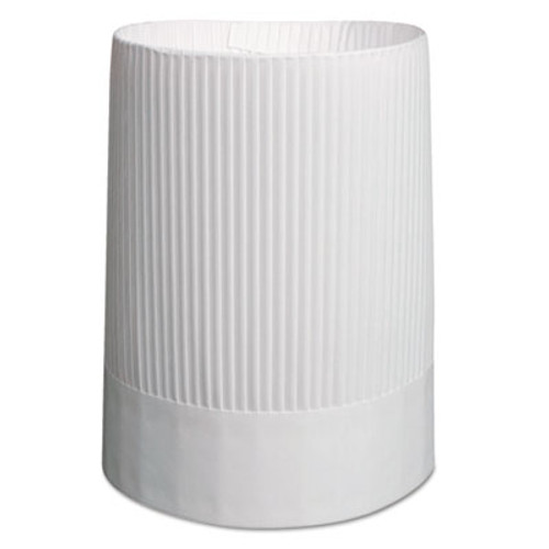 Royal Stirling Fluted Chef's Hats, Paper, White, Adjustable, 10 in Tall, 12/Carton (RPP SCH10)