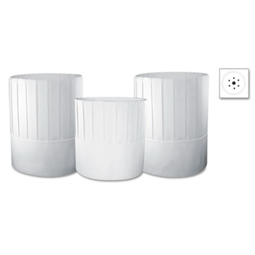Royal Pleated Chef's Hats, Paper, White, Adjustable, 7 in. Tall, 28/Carton (RPP RCH7)