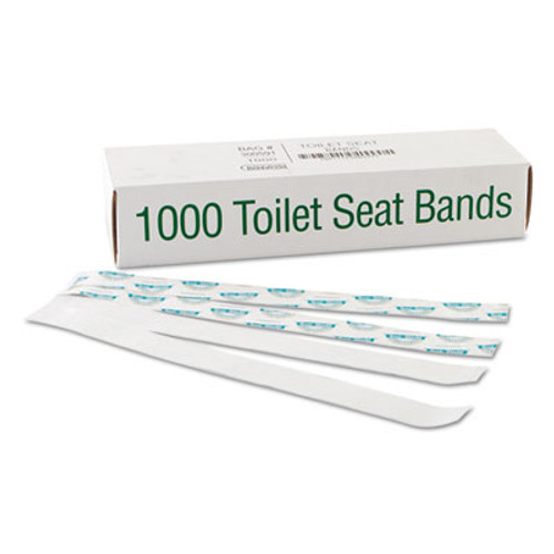 "Bagcraft Sani/Shield Printed Toilet Seat Band, Paper, Blue/White, 16"" Wide x 1-1/2"" Deep (BGC 300591)"