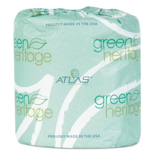 Atlas Paper Mills Green Heritage Toilet Tissue, 3 1/8 x 4 1/10 Sheets, 2Ply, 400/Roll, 96 Rolls/CT (APM248GREEN)