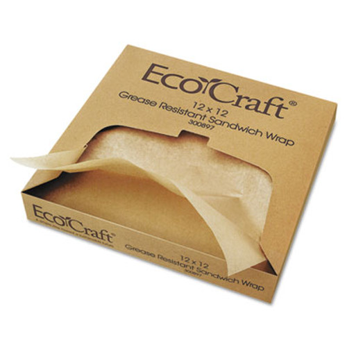 Bagcraft EcoCraft Grease-Resistant Paper Wrap/Liner, 12 x 12, 1000/Box, 5 Boxes/Carton (BGC 300897)