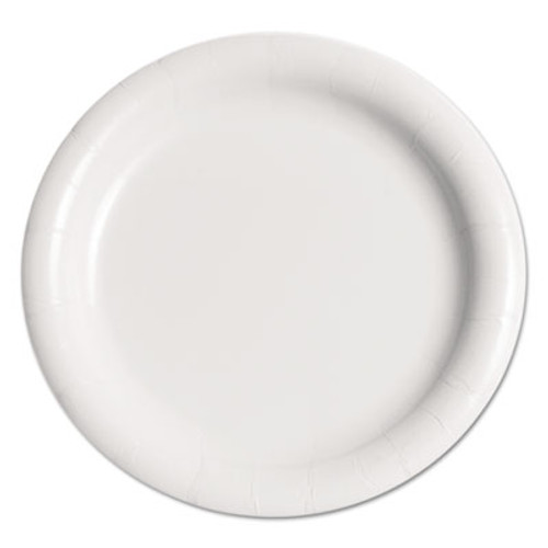 """Dart Bare Eco-Forward Clay-Coated Paper Plate, 9"""", WH, Rnd, Mdmwgt, 125/Pk, 4 PK/CT (SCC MWP9B)"""