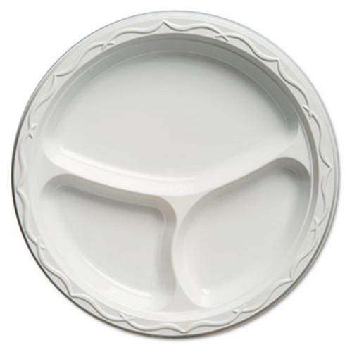 Genpak Aristocrat Plastic Plates, 10 1/4 Inches, White, Round, 3 Compartments, 125/Pack (GNP 71300)