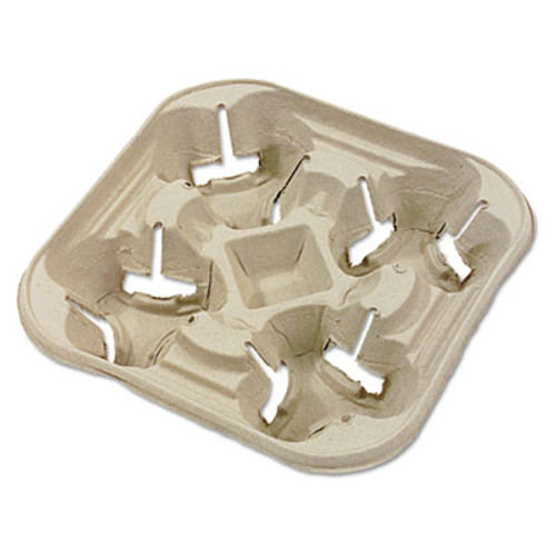 Chinet StrongHolder Molded Fiber Cup Tray, 8-22oz, Four Cups, 300/Carton (HUH FLURRY)