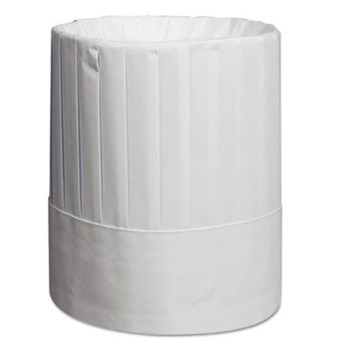 Royal Pleated Chef's Hats, Paper, White, Adjustable, 9 in Tall, 24/Carton (RPP RCH9)