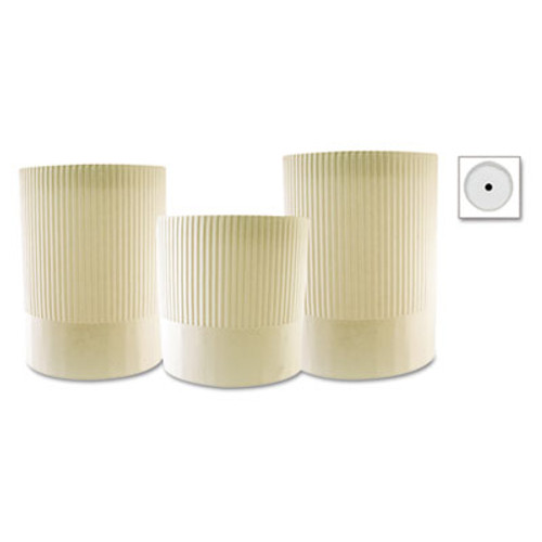 Royal Stirling Fluted Chef's Hats, Paper, White, Adjustable, 7 in. Tall, 15/Carton (RPP SCH7)