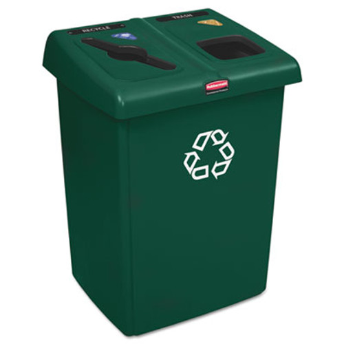Rubbermaid Glutton Recycling Station, Two-Stream, 46 gal, Green (RCP 1792340)