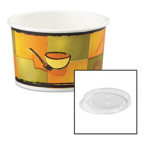 Chinet Streetside Paper Food Container w/Plastic Lid, Streetside Design, 8-10oz, 250/CT (HUH 70408)
