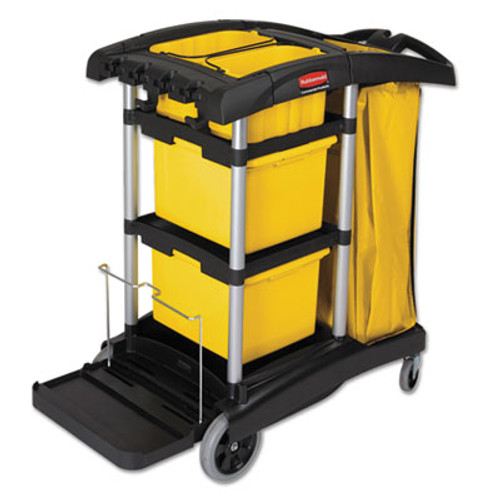Rubbermaid HYGEN M-fiber Healthcare Cleaning Cart, 22w x 48-1/4d x 44h, Black/Yellow/Silver (RCP 9T73)
