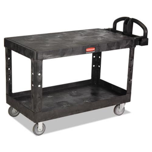 Rubbermaid Heavy-Duty 2-Shelf Utility Cart, TPR Casters, 25-1/4w x 54d x 36h, Black (RCP 4545 BLA)
