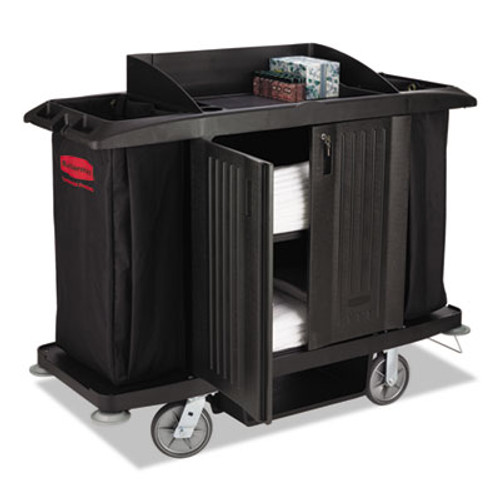 Rubbermaid Commercial Full-Size Housekeeping Cart, Three-Shelf, 22w x 60d x 50h, Black (RCP 6191 BLA)